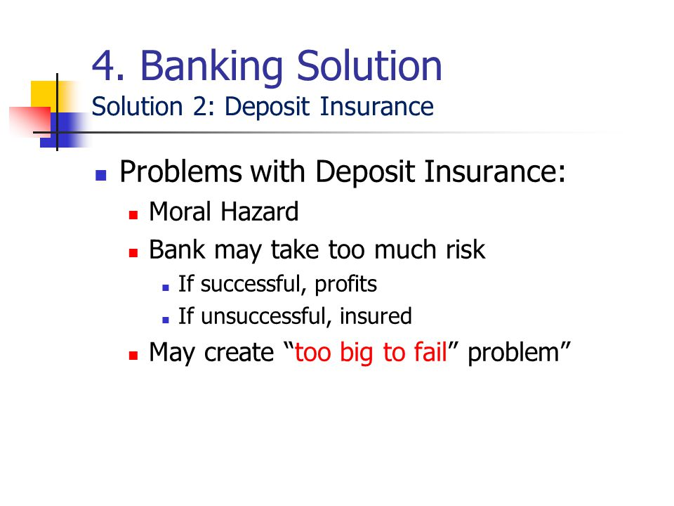 "Problems with Deposit Insurance: Moral Hazard Bank may take too much risk If successful, profits If unsuccessful, insured May create ""too big to fail"""