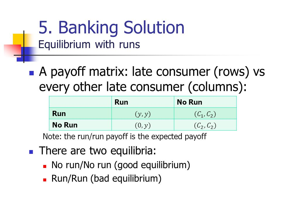 5. Banking Solution Equilibrium with runs A payoff matrix: late consumer (rows) vs every other late consumer (columns): Note: the run/run payoff is th