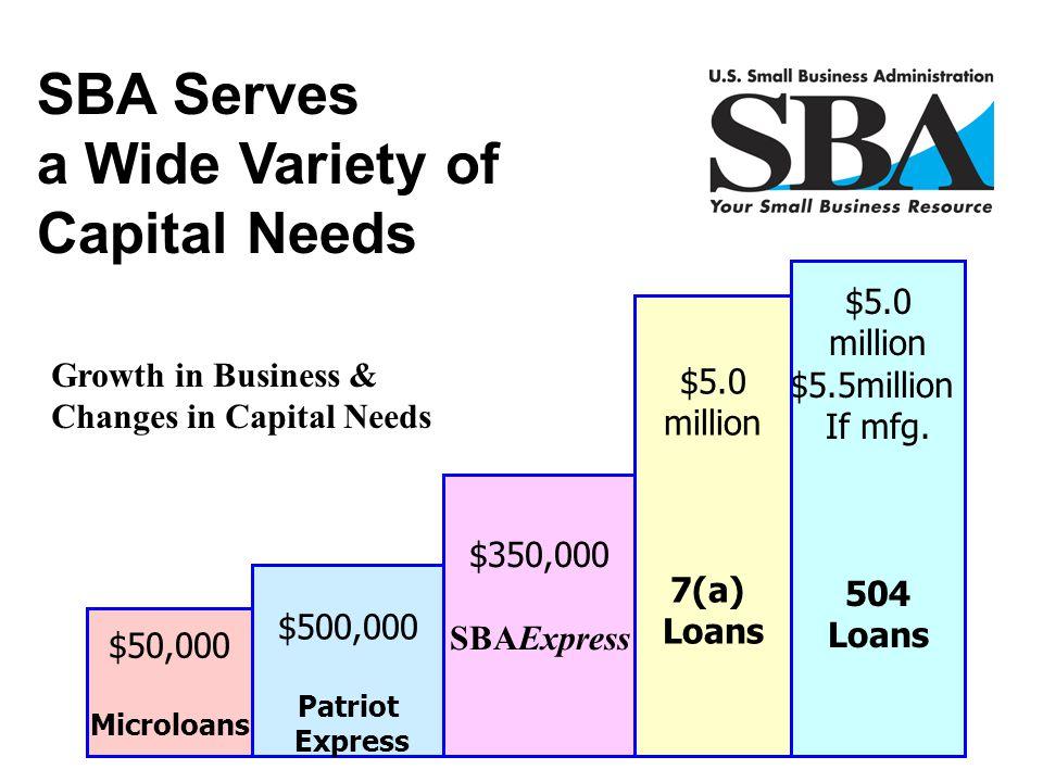 $50,000 Microloans $500,000 Patriot Express $5.0 million $5.5million If mfg. 504 Loans $5.0 million 7(a) Loans $350,000 SBAExpress Growth in Business