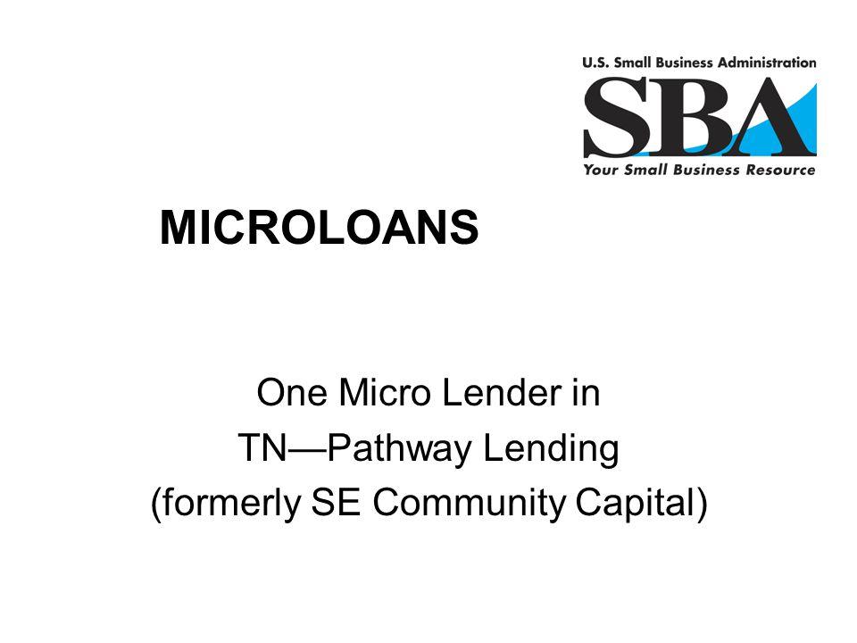 One Micro Lender in TN—Pathway Lending (formerly SE Community Capital) Finan MICROLOANS