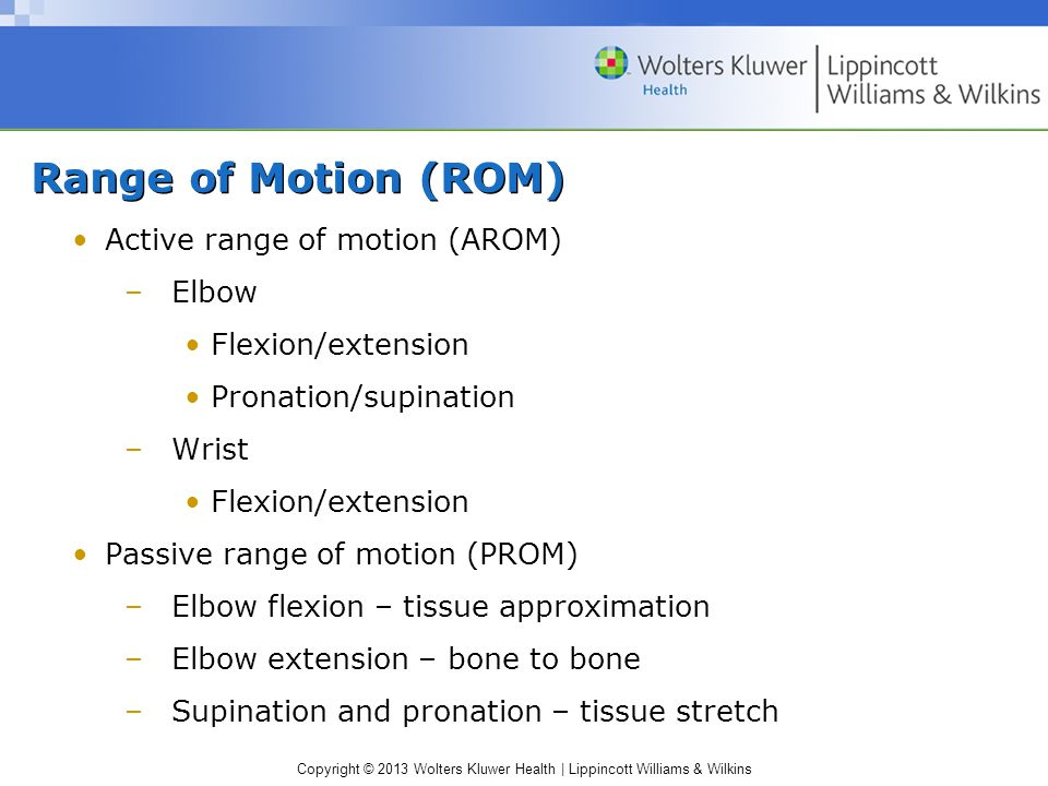 Copyright © 2013 Wolters Kluwer Health | Lippincott Williams & Wilkins Range of Motion (ROM) Active range of motion (AROM) –Elbow Flexion/extension Pronation/supination –Wrist Flexion/extension Passive range of motion (PROM) –Elbow flexion – tissue approximation –Elbow extension – bone to bone –Supination and pronation – tissue stretch