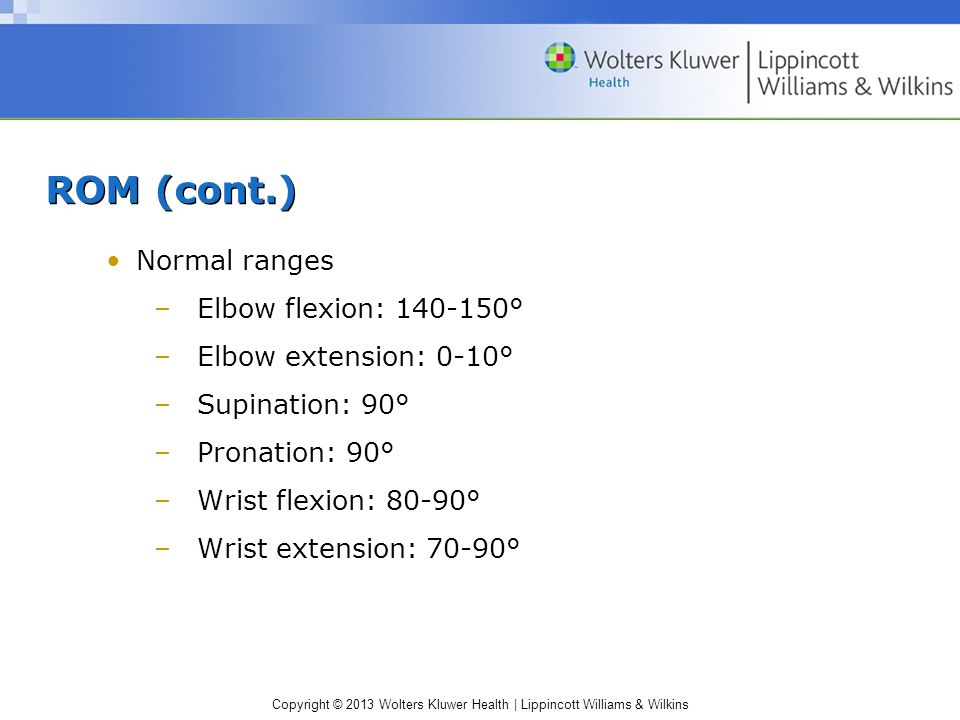 Copyright © 2013 Wolters Kluwer Health | Lippincott Williams & Wilkins ROM (cont.) Normal ranges –Elbow flexion: 140-150° –Elbow extension: 0-10° –Supination: 90° –Pronation: 90° –Wrist flexion: 80-90° –Wrist extension: 70-90°