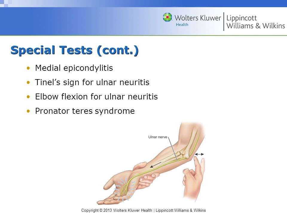 Copyright © 2013 Wolters Kluwer Health | Lippincott Williams & Wilkins Special Tests (cont.) Medial epicondylitis Tinel's sign for ulnar neuritis Elbow flexion for ulnar neuritis Pronator teres syndrome