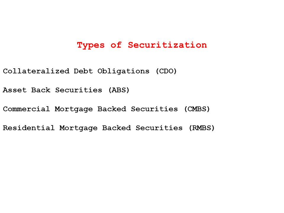 Types of Securitization Collateralized Debt Obligations (CDO) Asset Back Securities (ABS) Commercial Mortgage Backed Securities (CMBS) Residential Mortgage Backed Securities (RMBS)