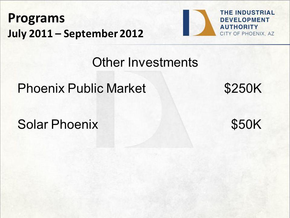 Other Investments Phoenix Public Market $250K Solar Phoenix $50K Programs July 2011 – September 2012