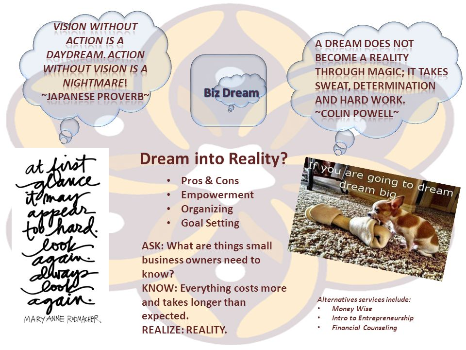 Dream into Reality? Alternatives services include: Money Wise Intro to Entrepreneurship Financial Counseling ASK: What are things small business owner