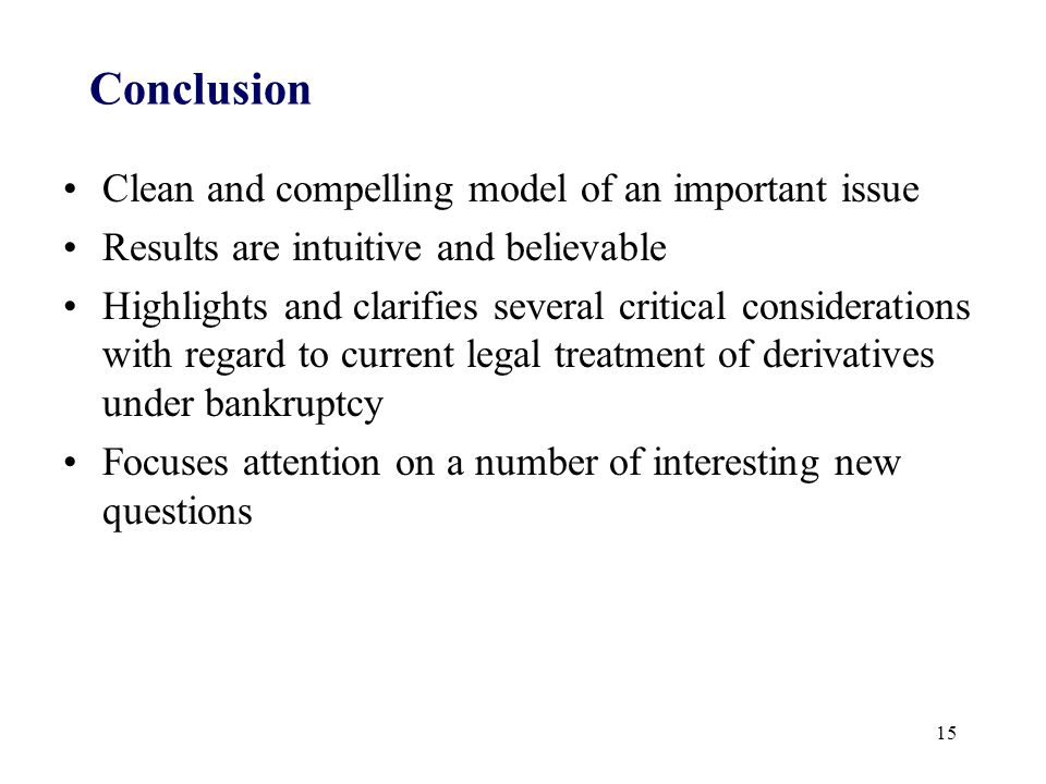 Conclusion Clean and compelling model of an important issue Results are intuitive and believable Highlights and clarifies several critical considerati