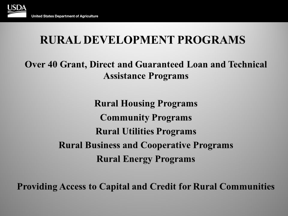 RURAL DEVELOPMENT PROGRAMS Over 40 Grant, Direct and Guaranteed Loan and Technical Assistance Programs Rural Housing Programs Community Programs Rural