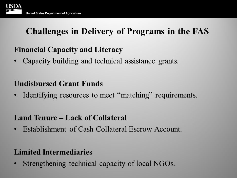 Challenges in Delivery of Programs in the FAS Financial Capacity and Literacy Capacity building and technical assistance grants. Undisbursed Grant Fun