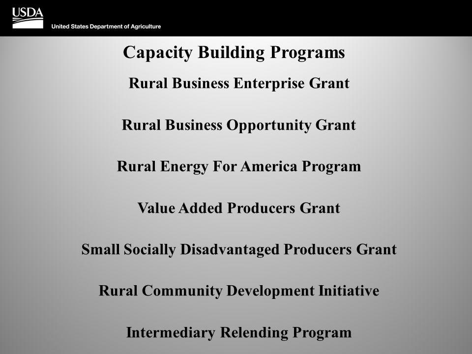 Capacity Building Programs Rural Business Enterprise Grant Rural Business Opportunity Grant Rural Energy For America Program Value Added Producers Gra
