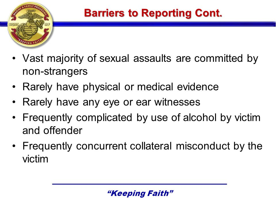 Barriers to Reporting Cont.