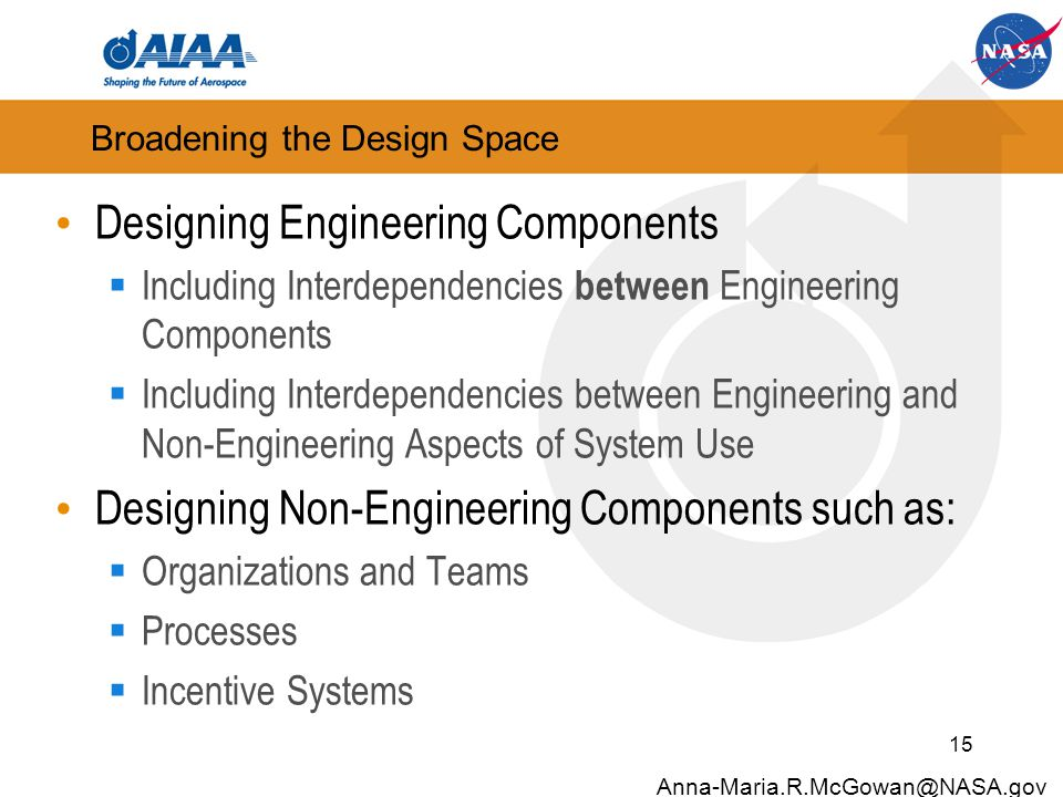 Broadening the Design Space Designing Engineering Components  Including Interdependencies between Engineering Components  Including Interdependencies between Engineering and Non-Engineering Aspects of System Use Designing Non-Engineering Components such as:  Organizations and Teams  Processes  Incentive Systems 15 Anna-Maria.R.McGowan@NASA.gov