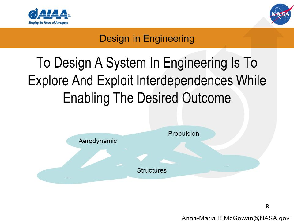 Design in Engineering To Design A System In Engineering Is To Explore And Exploit Interdependences While Enabling The Desired Outcome 8 Anna-Maria.R.McGowan@NASA.gov Aerodynamic Structures Propulsion … …