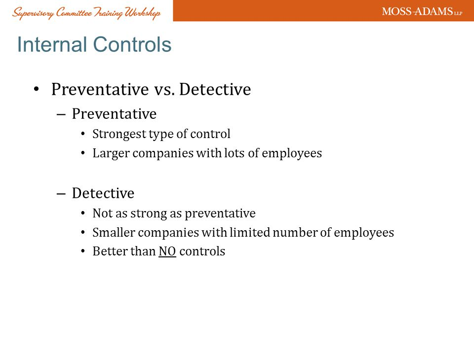 Internal Controls Preventative vs.