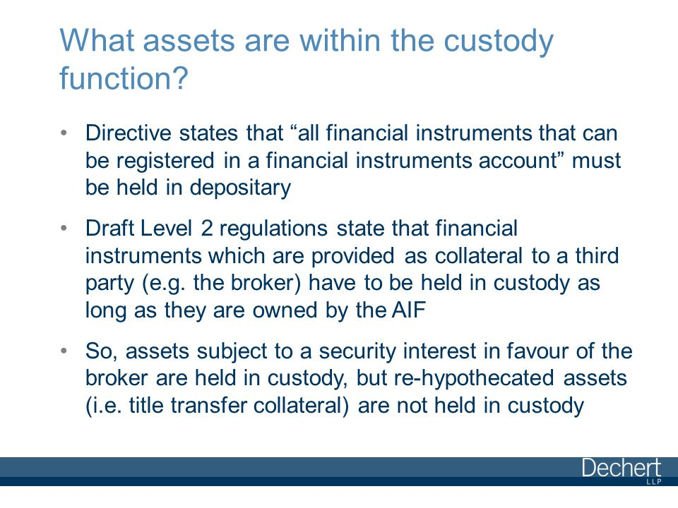 What assets are within the custody function.