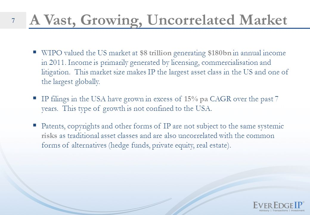 CONFIDENTIAL. 7 A Vast, Growing, Uncorrelated Market  WIPO valued the US market at $8 trillion generating $180bn in annual income in 2011. Income is