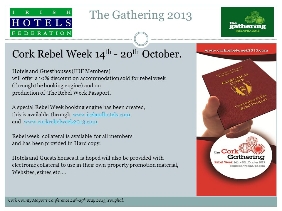 The Gathering 2013 Cork Rebel Week 14 th - 20 th October.