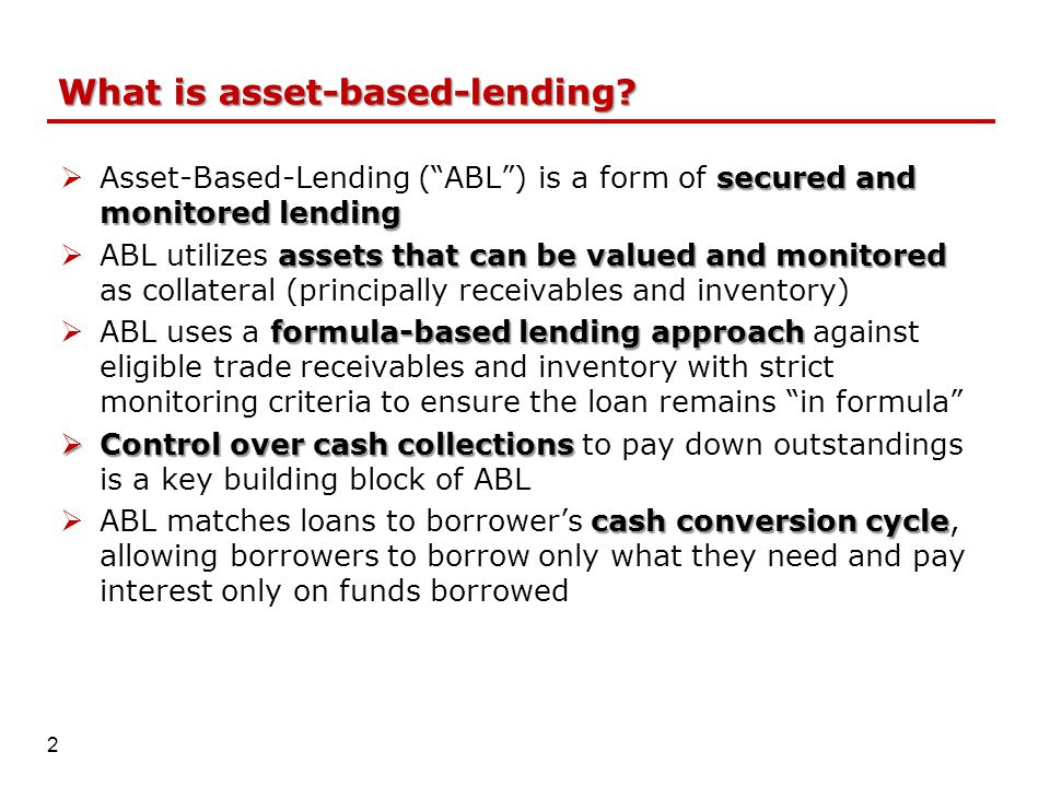 What is asset-based-lending.
