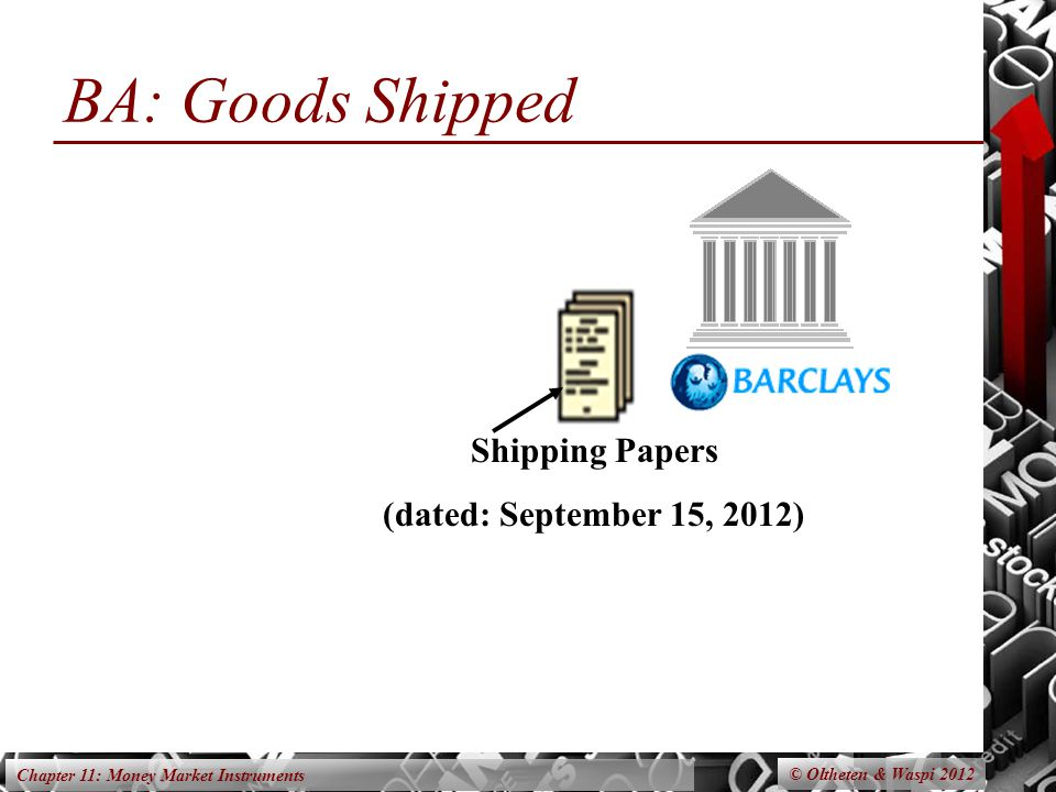 Chapter 11: Money Market Instruments BA: Goods Shipped © Oltheten & Waspi 2012 Shipping Papers (dated: September 15, 2012)