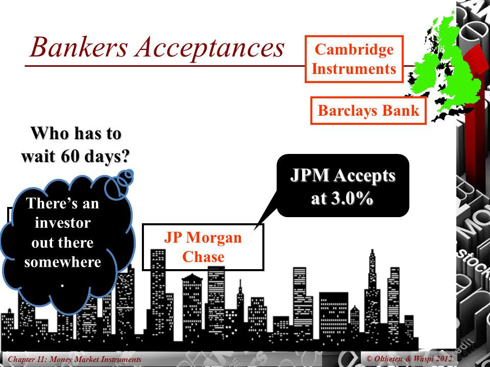 Chapter 11: Money Market Instruments Bankers Acceptances © Oltheten & Waspi 2012 New York Computer Imports Cambridge Instruments Who has to wait 60 days.