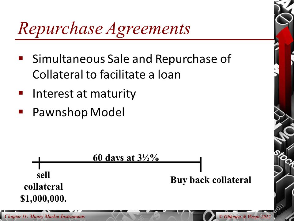 Chapter 11: Money Market Instruments © Oltheten & Waspi 2012 Repurchase Agreements  Simultaneous Sale and Repurchase of Collateral to facilitate a loan  Interest at maturity  Pawnshop Model sell collateral $1,000,000.
