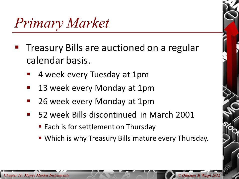 Chapter 11: Money Market Instruments © Oltheten & Waspi 2012 Primary Market  Treasury Bills are auctioned on a regular calendar basis.