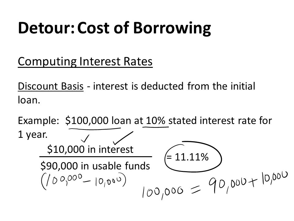 Detour: Cost of Borrowing Computing Interest Rates Discount Basis - interest is deducted from the initial loan.