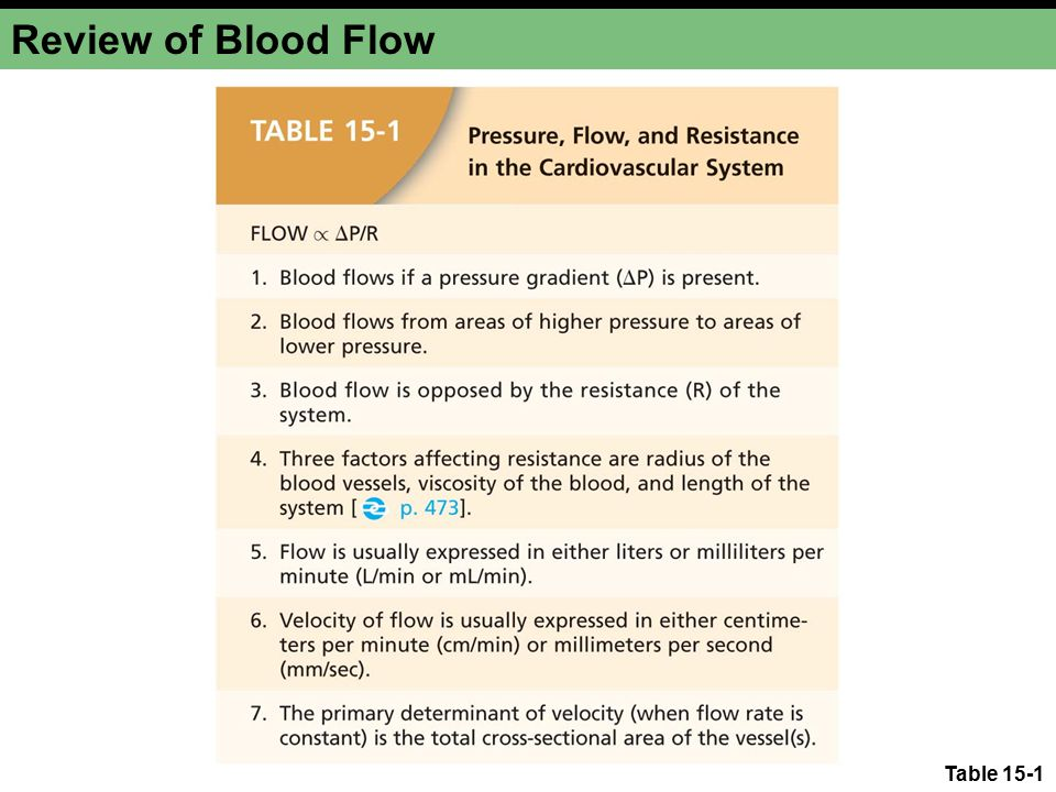 Review of Blood Flow Table 15-1