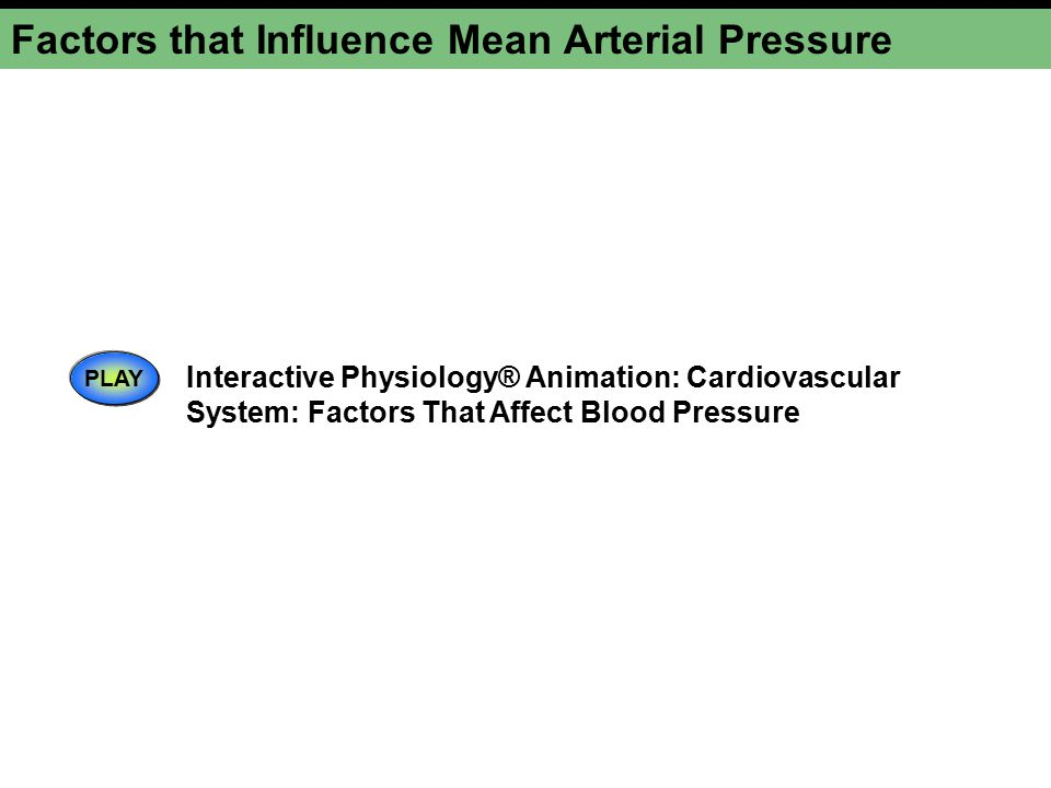 Factors that Influence Mean Arterial Pressure PLAY Interactive Physiology® Animation: Cardiovascular System: Factors That Affect Blood Pressure
