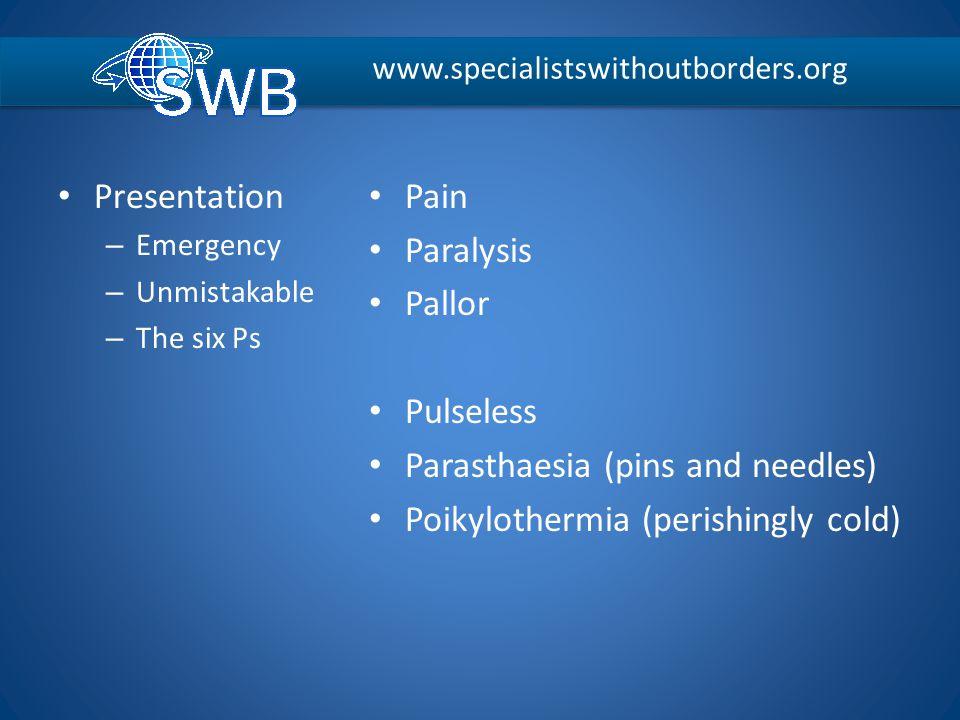 Presentation – Emergency – Unmistakable – The six Ps Pain Paralysis Pallor Pulseless Parasthaesia (pins and needles) Poikylothermia (perishingly cold)