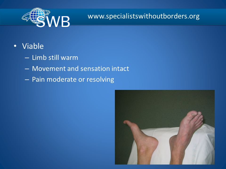 Viable – Limb still warm – Movement and sensation intact – Pain moderate or resolving www.specialistswithoutborders.org