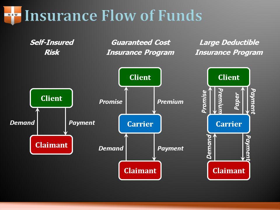 Self-Insured Risk Guaranteed Cost Insurance Program Large Deductible Insurance Program Client Claimant DemandPayment Carrier Claimant DemandPayment Cl