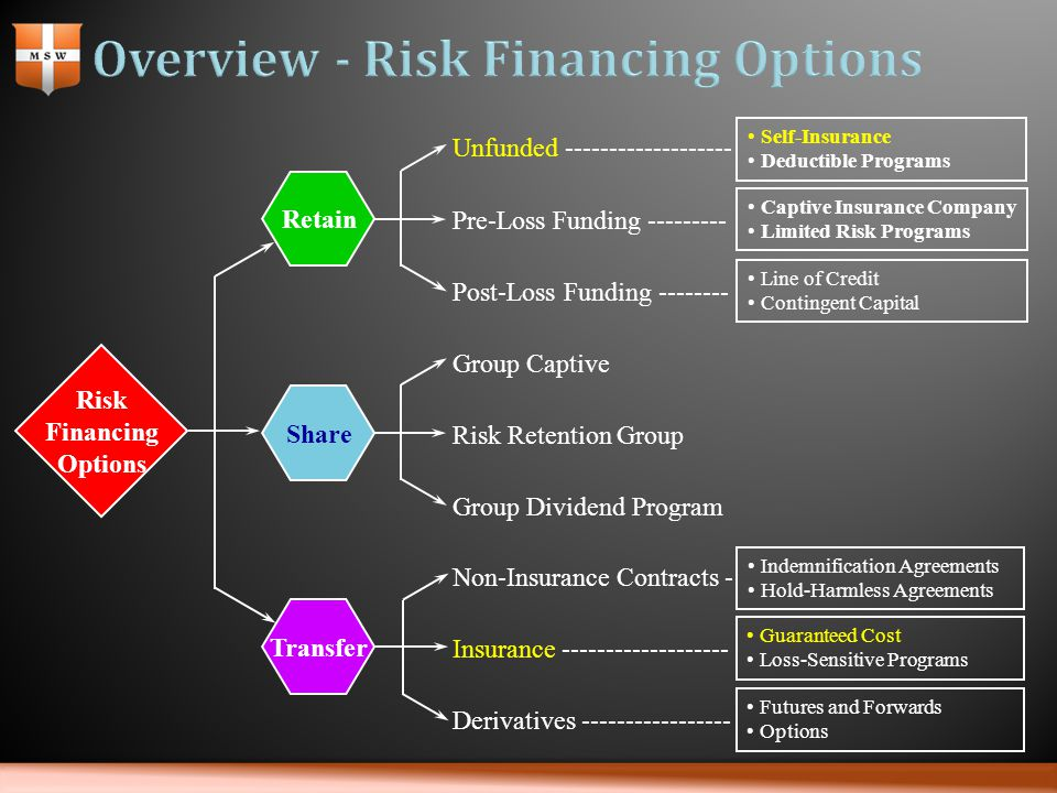 Risk Financing Options Share Retain Transfer Unfunded ------------------- Pre-Loss Funding --------- Post-Loss Funding -------- Group Captive Risk Retention Group Group Dividend Program Non-Insurance Contracts - Insurance ------------------- Derivatives ----------------- Indemnification Agreements Hold-Harmless Agreements Guaranteed Cost Loss-Sensitive Programs Futures and Forwards Options Self-Insurance Deductible Programs Captive Insurance Company Limited Risk Programs Line of Credit Contingent Capital