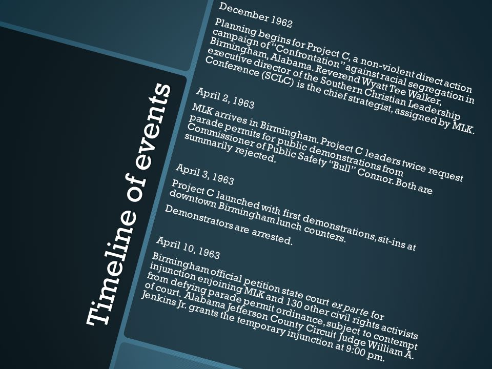 Timeline of events April 11, 1963 MLK and others named in injunction first notified at 1:00 am.