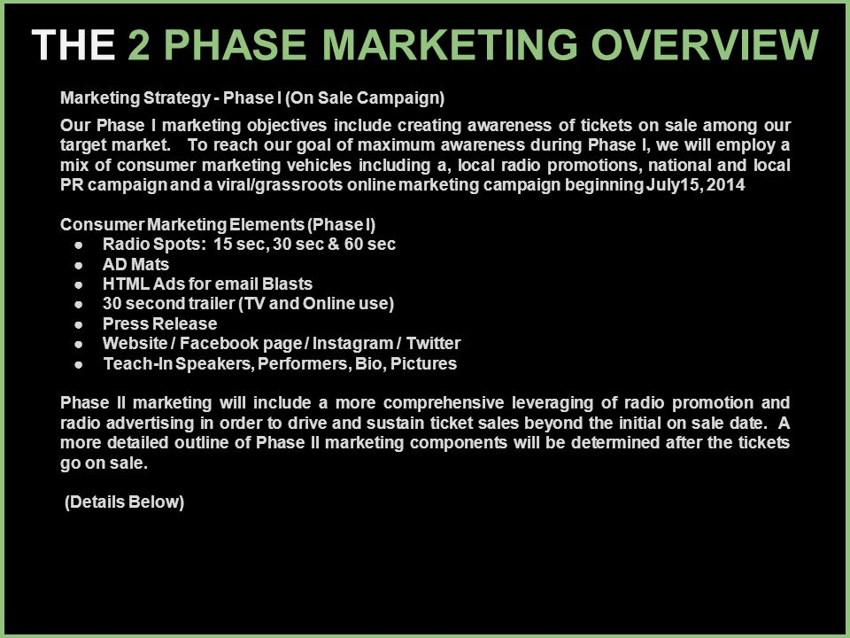 THE 2 PHASE MARKETING OVERVIEW Marketing Strategy - Phase I (On Sale Campaign) Our Phase I marketing objectives include creating awareness of tickets on sale among our target market.