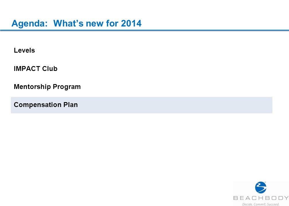 Agenda: What's new for 2014 Levels IMPACT Club Mentorship Program Compensation Plan