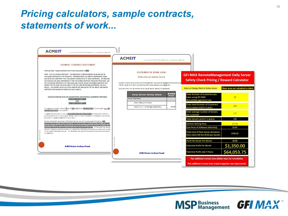 18 Pricing calculators, sample contracts, statements of work...