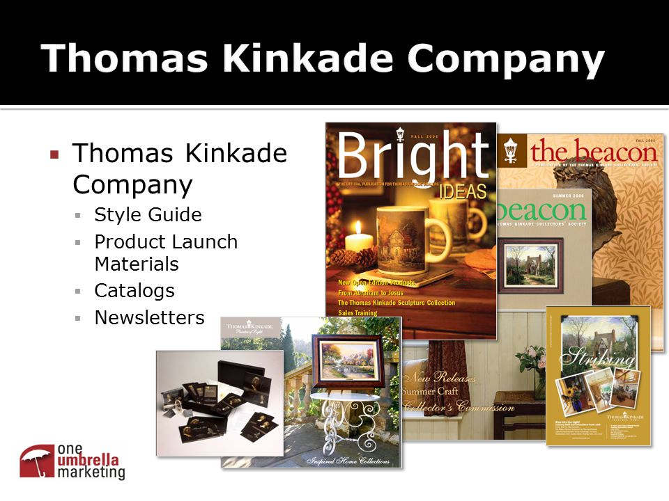  Thomas Kinkade Company  Style Guide  Product Launch Materials  Catalogs  Newsletters