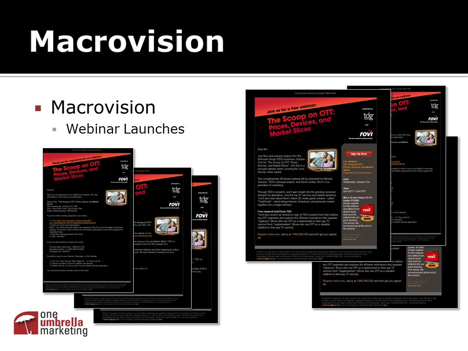  Macrovision  Webinar Launches