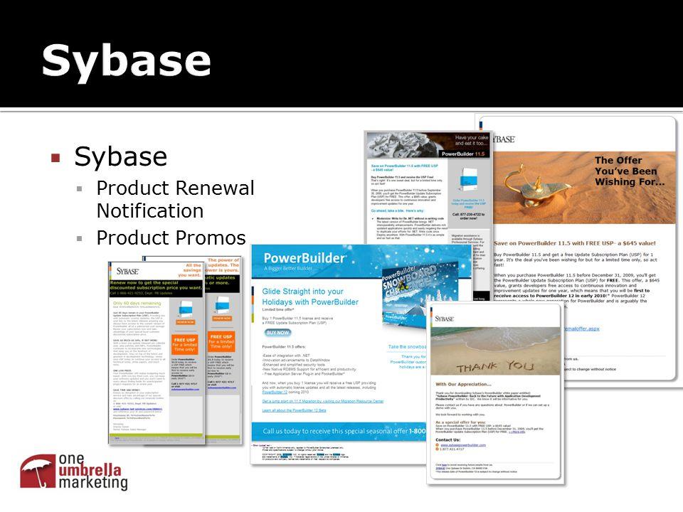  Sybase  Product Renewal Notification  Product Promos