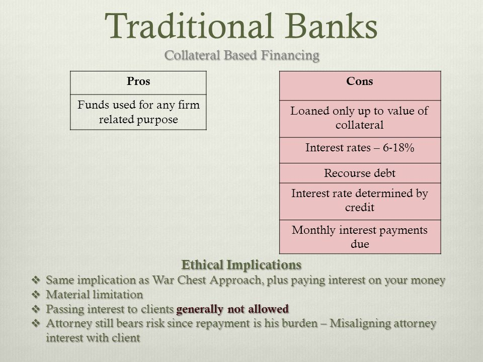 Collateral Based Financing Traditional Banks Collateral Based Financing Cons Loaned only up to value of collateral Interest rates – 6-18% Recourse debt Interest rate determined by credit Monthly interest payments due Pros Funds used for any firm related purpose Ethical Implications  Same implication as War Chest Approach, plus paying interest on your money  Material limitation  Passing interest to clients generally not allowed  Attorney still bears risk since repayment is his burden – Misaligning attorney interest with client