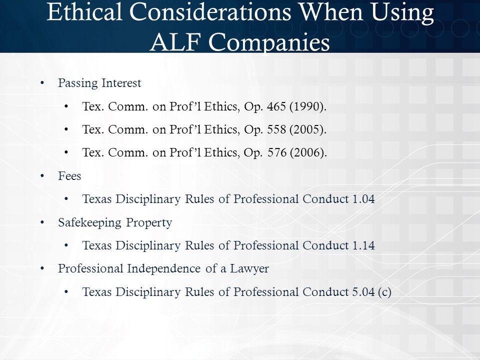Passing Interest Tex.Comm. on Prof'l Ethics, Op. 465 (1990).