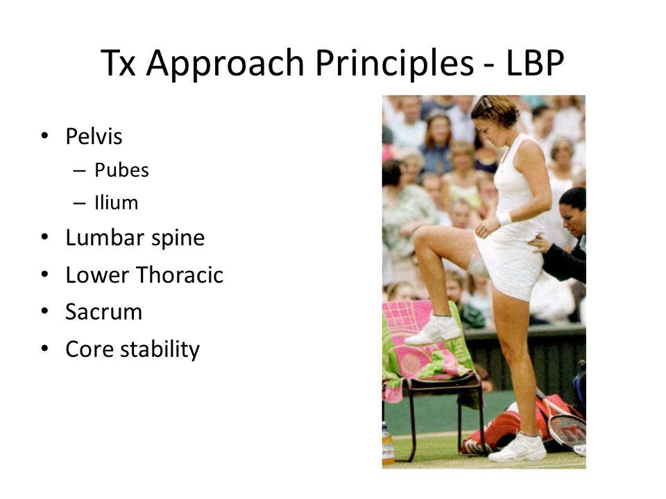 Tx Approach Principles - LBP Pelvis – Pubes – Ilium Lumbar spine Lower Thoracic Sacrum Core stability