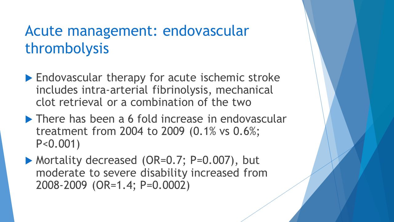 Acute management: endovascular thrombolysis  Endovascular therapy for acute ischemic stroke includes intra-arterial fibrinolysis, mechanical clot ret