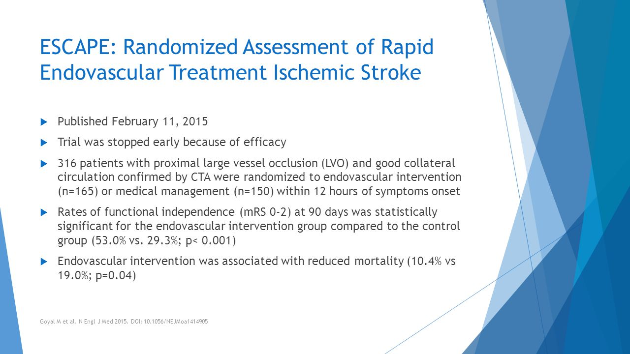 ESCAPE: Randomized Assessment of Rapid Endovascular Treatment Ischemic Stroke  Published February 11, 2015  Trial was stopped early because of effic