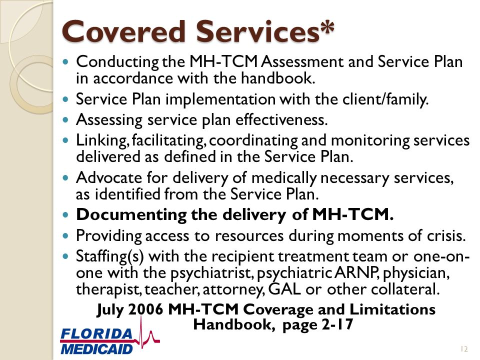 Covered Services* Conducting the MH-TCM Assessment and Service Plan in accordance with the handbook. Service Plan implementation with the client/famil