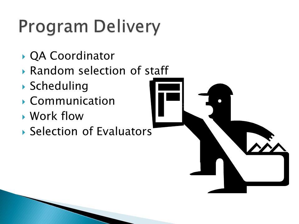  QA Coordinator  Random selection of staff  Scheduling  Communication  Work flow  Selection of Evaluators