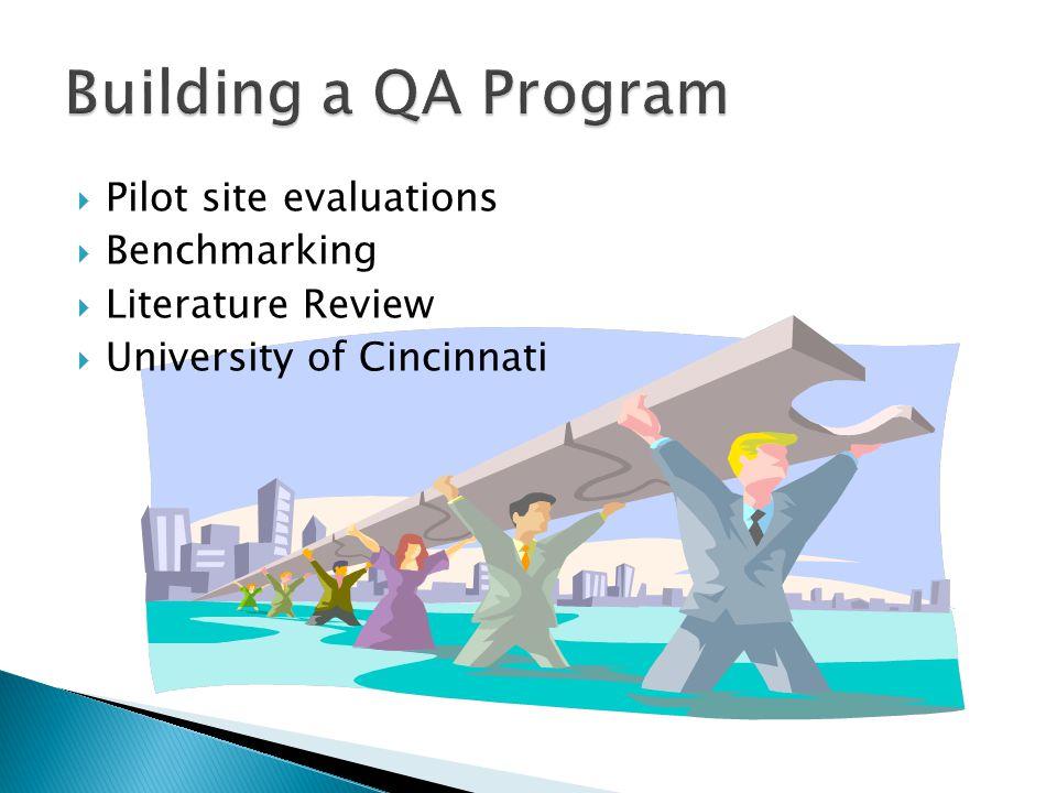  Pilot site evaluations  Benchmarking  Literature Review  University of Cincinnati