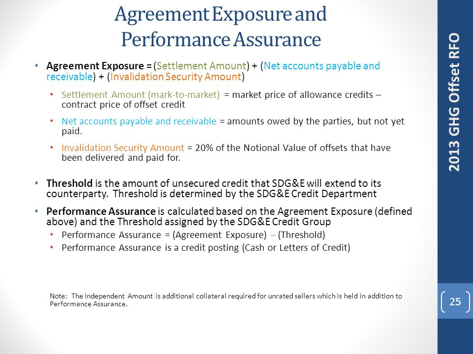 Agreement Exposure and Performance Assurance 25 2013 GHG Offset RFO Agreement Exposure = (Settlement Amount) + (Net accounts payable and receivable) + (Invalidation Security Amount) Settlement Amount (mark-to-market) = market price of allowance credits – contract price of offset credit Net accounts payable and receivable = amounts owed by the parties, but not yet paid.