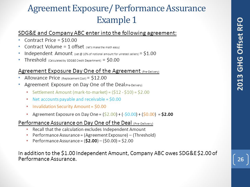 Agreement Exposure/ Performance Assurance Example 1 26 2013 GHG Offset RFO SDG&E and Company ABC enter into the following agreement: Contract Price = $10.00 Contract Volume = 1 offset (let's make the math easy) Independent Amount (set @ 10% of notional amount for unrated sellers) = $1.00 Threshold (Calculated by SDG&E Credit Department) = $0.00 Agreement Exposure Day One of the Agreement (Pre-Delivery) Allowance Price (Replacement Cost) = $12.00 Agreement Exposure on Day One of the Deal (Pre-Delivery) Settlement Amount (mark-to-market) = ($12 - $10) = $2.00 Net accounts payable and receivable = $0.00 Invalidation Security Amount = $0.00 Agreement Exposure on Day One = ($2.00) + (-$0.00) + ($0.00) = $2.00 Performance Assurance on Day One of the Deal (Pre-Delivery) Recall that the calculation excludes Independent Amount Performance Assurance = (Agreement Exposure) – (Threshold) Performance Assurance = ($2.00) – ($0.00) = $2.00 In addition to the $1.00 Independent Amount, Company ABC owes SDG&E $2.00 of Performance Assurance.